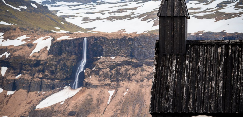 Búðakirkja with Waterfall