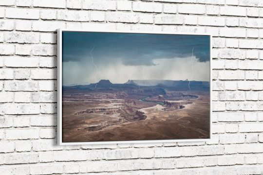 Approaching Storm at Green River Canvas with White Frame