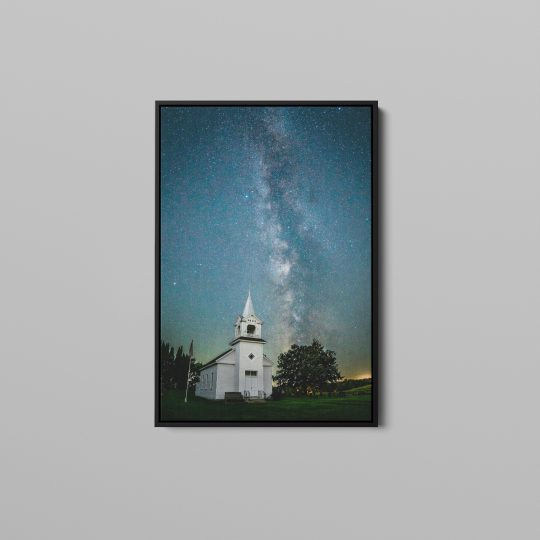 Milky Way over Zoar Church Canvas with Black Wooden Frame