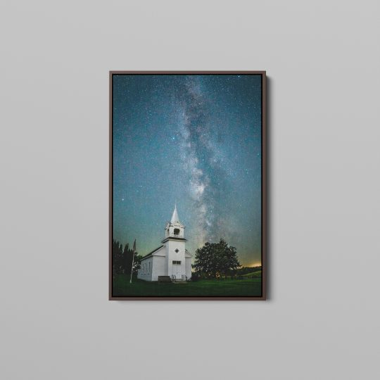 Milky Way over Zoar Church Canvas with Brown Espresso Wooden Frame