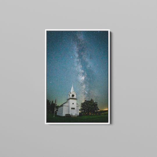 Milky Way over Zoar Church Canvas with White Wooden Frame