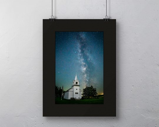 Milky Way over Zoar Church Canvas with Black Mat
