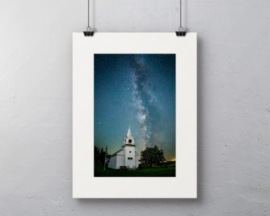 Milky Way over Zoar Church Canvas with White Mat