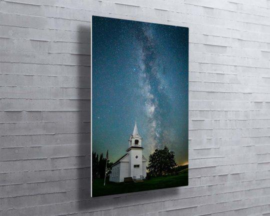 Milky Way over Zoar Church Canvas Metal Print